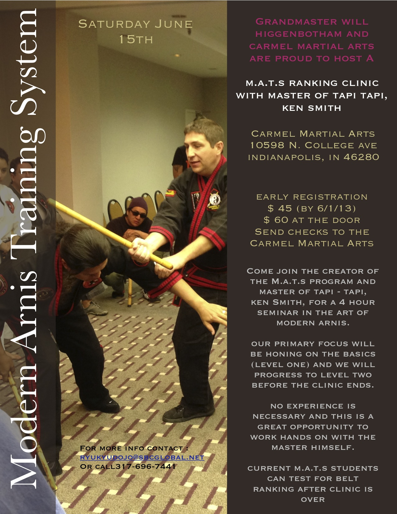 Modern Arnis Seminar with Master of Tapi Tapi, Ken Smith @ Carmel Martial Arts | Indianapolis | Indiana | United States